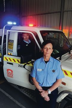 Department of Fire and Emergency Services bushfire and local government relations coordinator Craig Garrett with Georgia Johnson, the first female bushfire volunteer captain for Bullsbrook. d386229