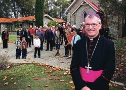 Archbishop Timothy Costelloe with locals. Picture: Robin Kornet d402119