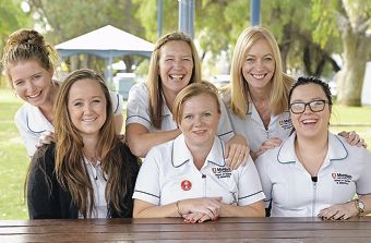 Suzanne Marsella (second from right) with fellow nursing students Rhiannon Villiers, Marissa Scott, Diana Simmons, Ann-Marie Della-Spina and Lidia Palumbo. Picture: Elle Borgward d402157