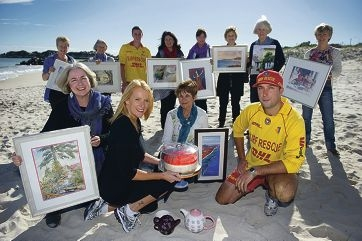 Sharon Sorensen (Artika Group), Wendy Grant (SO Cafe), Lorraine Gardner (Artika Group) and Roy Grant (Sorrento SLSC) with (background) other Artika Group and Sorrento SLSC members.
