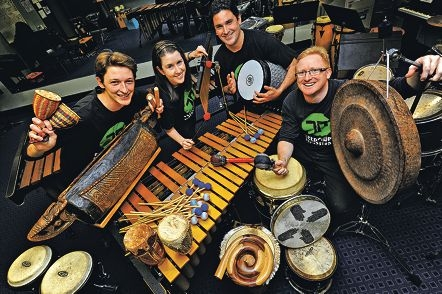 Tetrafide Percussion are, from left, Joshua Webster (Rivervale), Catherine Hall (Tuart Hill), Iain Robbie (Rossmoyne) and Neville Talbot (Bassendean) [NAMES OK]
