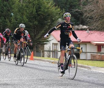 Matt Jackson wins the under-17 men's road race at the Mersey Valley Junior Tour in Tasmania.