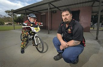 Matthew Rochester and BMX club president Nic Marshall. Picture: Elle Borgward d402859