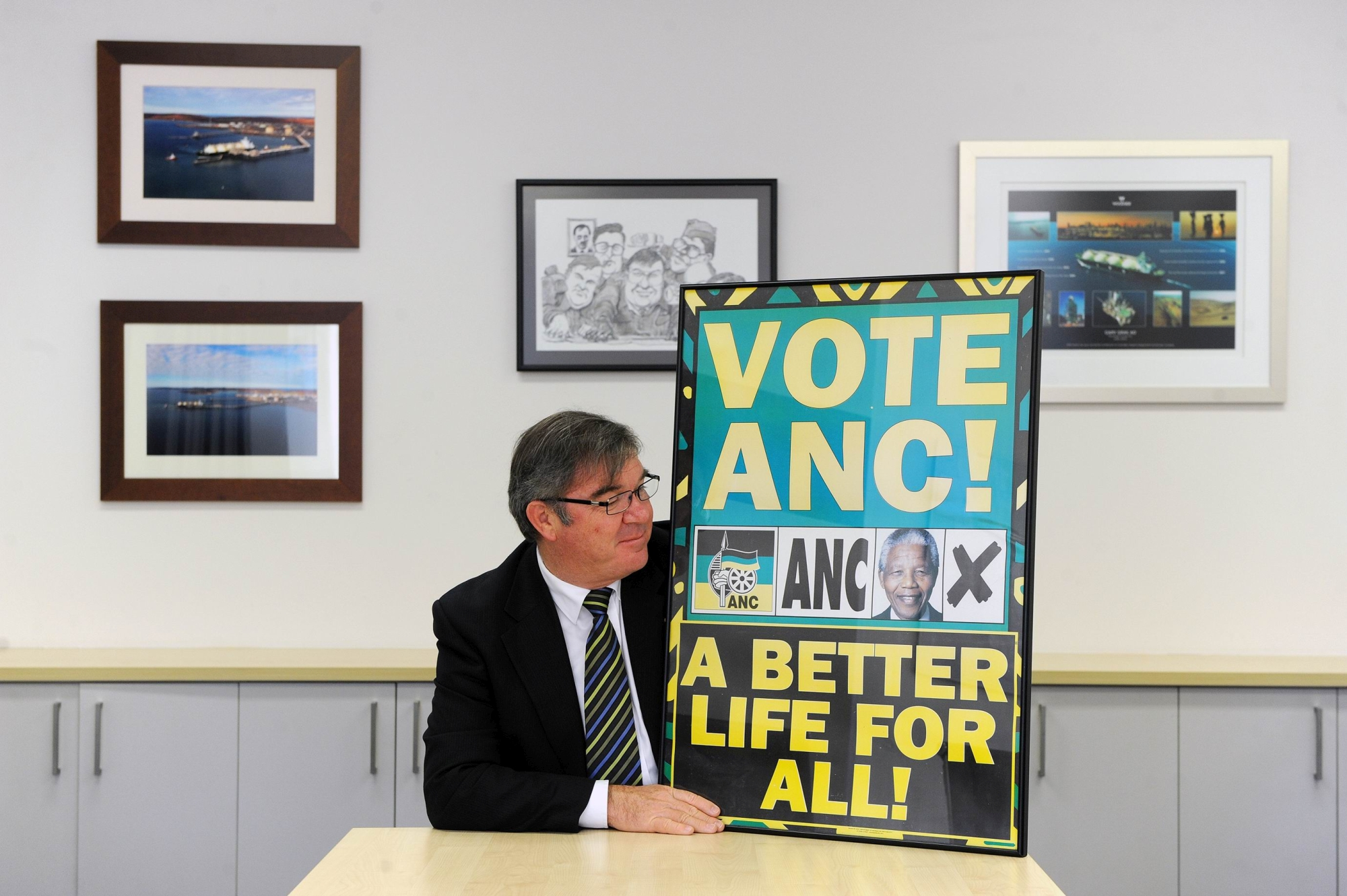 Gary Gray with one of his ANC election posters.