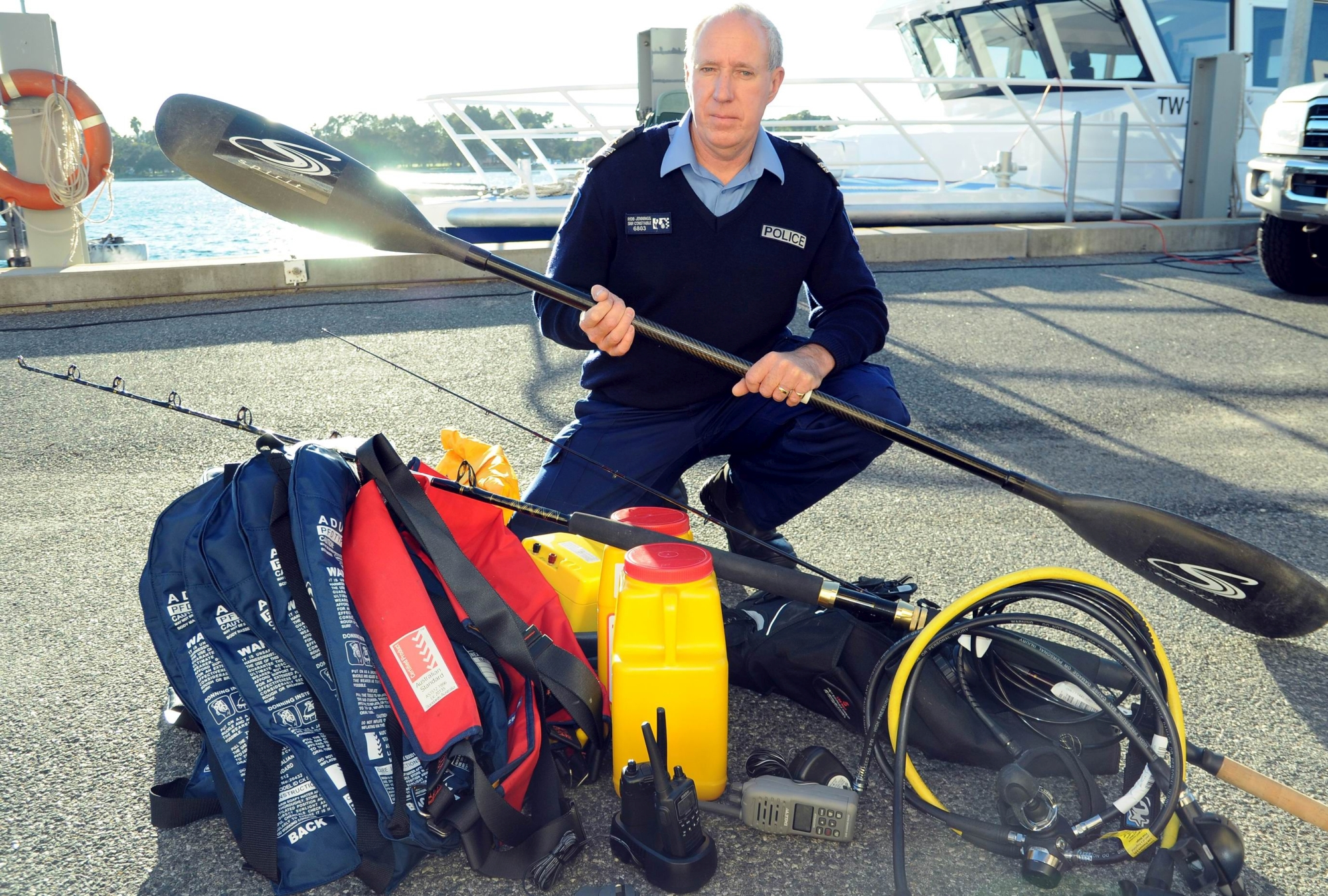 Snr Const Rob Jennings with some of the still to be claimed items.