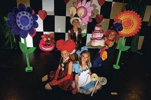 Front: Sarah Pryer and Jessica Zipfel; back: Daniel Morris and Zak Farley in costume for Almost Alice. Picture: Emma Reeves d403292