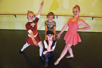 From Left: Mia Martin (10 yrs), Zac McCulloch (9 yrs), Jazmine McCulloch (14 yrs), Front: Charlie Martin (8 yrs). Performers from Talent Co. in Wangara have been chosen as Todd McKenney support acts