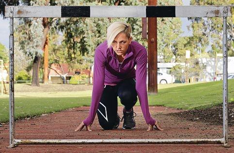 Champion hurdler Shannon McCann in training for the World University Games. Picture: Elle Borgward d403190