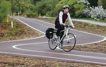 Karen Lancaster, of the City of South Perth, on the new cycle path.