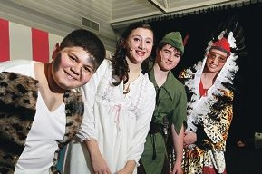 Cast members Jonathan Tartaglia (as a lost boy), Gordarna Rigoli (Wendy), Max Hughes (Peter Pan) and Teaghan Barone (Indian).