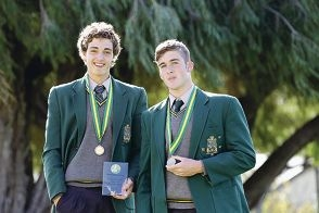 Water polo stars Jake Leavy of Bicton and Liam McMahon of Melville with their medals. Picture: Martin Kennealey www.communitypix.com.au d403385