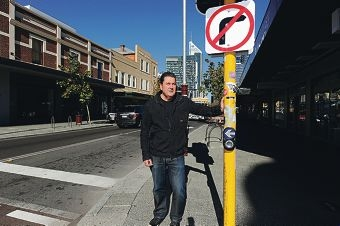 Big N chairman Mike Keiller at the intersection of William Street and James Street in Northbridge. Picture: Marcus Whisson www.communitypix.com.au d403687