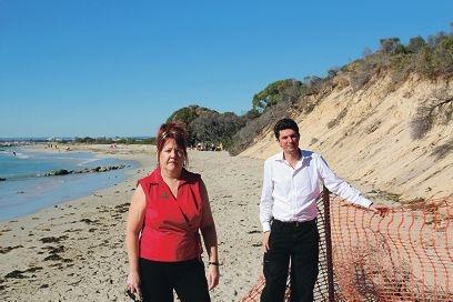 Dawn Jecks and WA Greens Senator Scott Ludlam at Point Peron where coastal erosion is common.