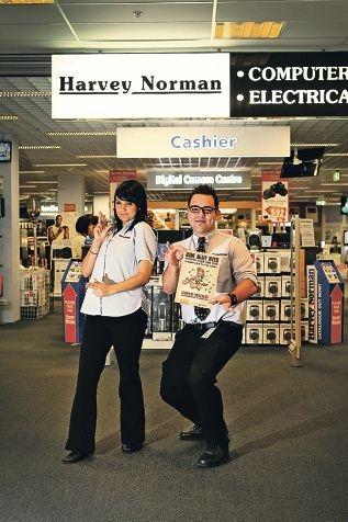 Harvey Norman City West sales consultant Nadine Kawana and Microsoft expert Hugo De'Nobrega.