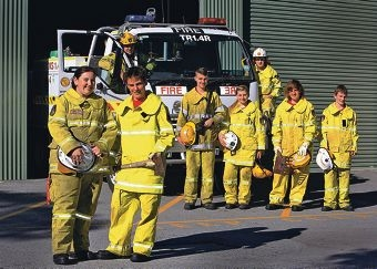 Manager Jessica Napier and Richard Moon (front), coach Trent Cole and Shaden Clarke (on truck) and Dominic Cronin, Tempany Cole, Ash Beckett and Nicholas Cronin. Picture: Matt Jelonek www.communitypix.com.au d403691