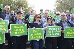 Transport workers protesting at the privatisation of driving assessments.