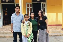 Hai Bui, Thi Ich, Mrs Arat (Thi Ich's mother) and Linda Barbour meeting for the first time after a decade of support across the miles.