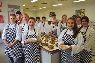 Mercedes College students and Crown chefs.