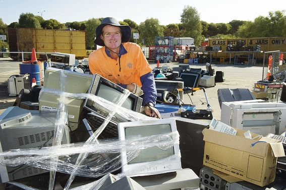 David Dowling with some of the e-waste left at Tamala Park for recycling. Picture: Emma Reeves www.communitypix.com.au d403961