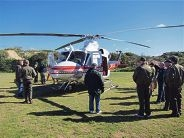 The rescue helicopter drops in to Whitfords |Volunteer Sea Rescue Group as part of a training program.