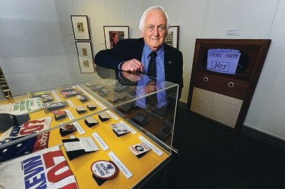 Emeritus Professor David Black at the 'Majority Rules' exhibition [NAME OK]