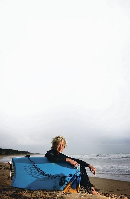 Bodyboarder Davis Blackwell (17) at the beach. Picture: Marie Nirme www.communitypix.com.au d404344