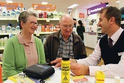 Diabetics Glenice and John Wells and medical representative Andrew Spratt.