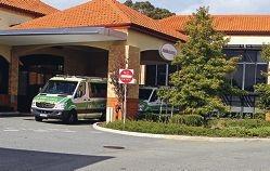 Ambulances parked and waiting at Armadale-Kelmscott Memorial Hospital. Picture: David Baylis www.communitypix.com.au d404238