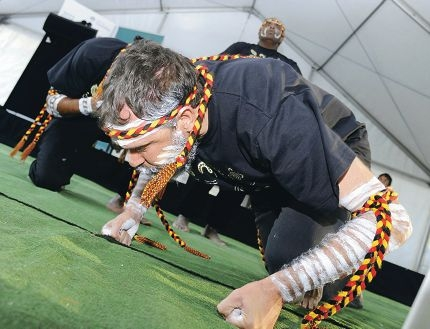 The Wadumbah Aboriginal Dance Group in action.