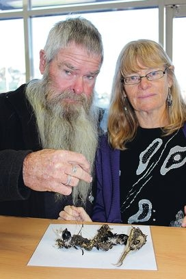Bill and Sally Warner found a dead bird embedded in fishing line and hooks in the estuary.