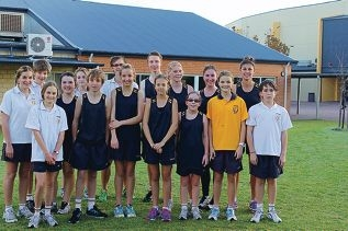 Mandurah Baptist College's running team members.