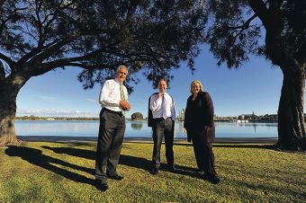 Don Randall, Greg Hunt and Donna Gordin at the estuary.