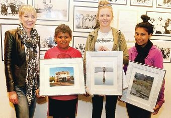 MP Mia Davies with competition winners Alan Boundary, Bridie Luers and Marika Riley.