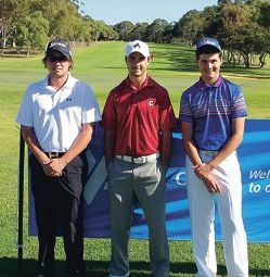 Winner Mark Weeber, centre with runner-up Daniel Hoeve, left, and Curtis Luck, right.