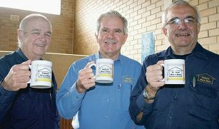 Midland Men's Shed member Keith Bertram, secretary Kevin Buckland and president Dave Savage.