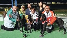 Trainer David Hobby with second-placed Sveta Monelli, Mandy and Nick Holmshaw, handler Sean Kavanagh with Oaks winner Sharon Monelli, Greyhounds WA Mandurah manager Renee Price, Ellanda Hobby and third-placed Luba Monelli.