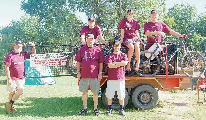 Mike Lennon, Chris Grubba, Steve Beech, Geoff Engel, Ashlee Mazzardis and Duncan Reynolds – the team and support crew who participated in the recent Gibb River Road Mountain Bike Challenge.