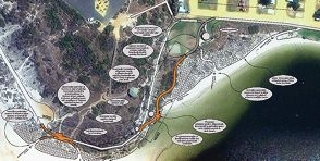 An aerial shot of the new Guilderton boardwalk area at Moore River, together with plan details.