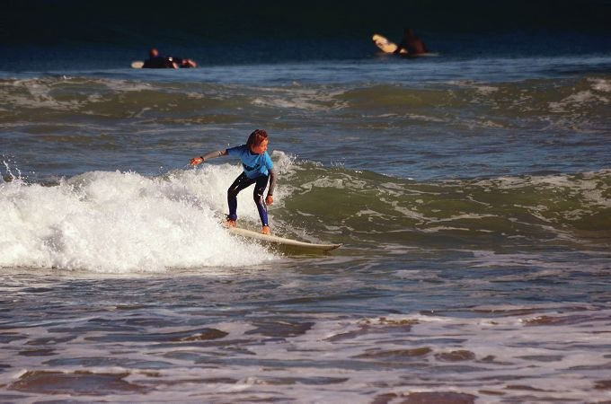 Quinn McColl surfs to 3rd place in the Grom Boys division. Picture: Dave Ware