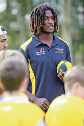 Nic Naitanui was met by some of his adoring fans at Glen Forrest Primary School. Pictures: Bruce Hunt www.communitypix.com.au d402047
