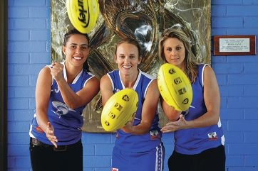 East Fremantle players Kirby Bentley, Stephanie Walding and Melissa Caulfield. Picture: Martin Kennealey www.communitypix.com.au d401331