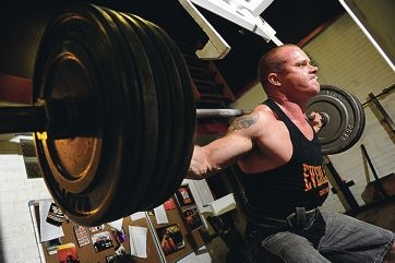 WA powerlifting champion James McNaught lifts 240 kilograms. Picture: Marcus Whisson d401851