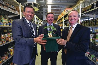 Foodbank CEO Greg Hebble with WA Governor Malcolm McCusker and Foodbank chairman Peter Mansell at the new facility. Picture: Jon Hewson www.communitypix.com.au d401542