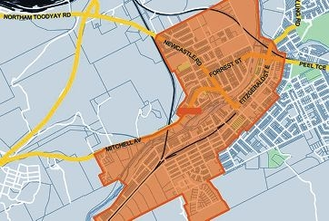 A map of the NBN's rollout area in in the centre of Northam.