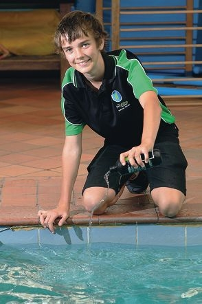 Full bottle: Matthew Bishop has become the youngest person in Australia to receive the Royal Life Saving Society pool operator certificate. Picture: Bruce Huntd400301
