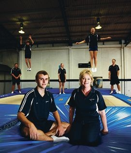 Peak trampoline head coach Ken Robertson and club manager Susan Watts. Picture: Andrew Ritchie d399383