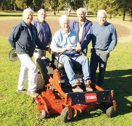 Proudly showing off their new ride-on mower are Mundaring golf maintenance team members Ken Moore, Eric Silinger, John Shinnick, Peter Smith and Peter Paleske.