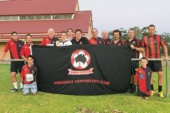 Some Armadale Soccer Club members show support for their team, which nurtured Trent Sainsbury, now of Central Coast Mariners.
