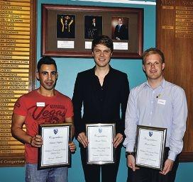 BCC inductees Michael Kaplan, Shane Newton and Thomas Davie.