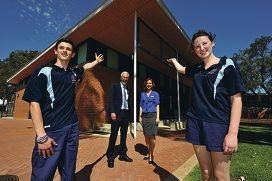 Principal Alan Hunt, deputy principal Fiona Davidson and Year 11 students Jordan Johnson and Katie Seery at the school's new facilities. Picture: Jon Hewson www.communitypix.com.au d411196
